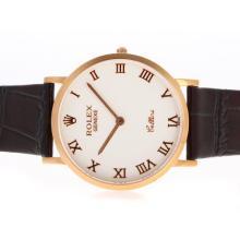 Replique Rolex Cellini or rose marqueurs romaine cas avec cadran blanc-bracelet en cuir 20127