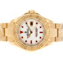 Replique Rolex Yacht-Master Swiss ETA 2836 Mouvement complète des marqueurs de diamant d'or rouge avec cadran blanc Rolex Yachtmaster - Belle montre pour vous 25330