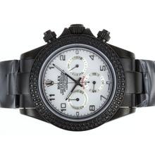 Replique Rolex Daytona Chronograph de travail complet PVD Diamond Bezel avec cadran blanc-Nombre de marquage - Attractive Rolex Daytona Montre pour vous 23642