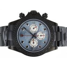 Replique Rolex Daytona Chronograph de travail complet PVD Diamond Bezel avec Blue MOP Dial-Marquage Black Diamond - Attractive Rolex Daytona Montre pour vous 23641