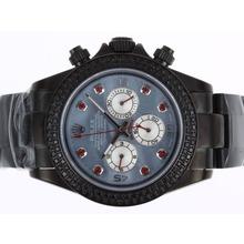 Replique Rolex Daytona Chronograph de travail complet PVD Diamond Bezel avec Blue MOP Dial-Marquage Red Diamond - Attractive Rolex Daytona Montre pour vous 23639