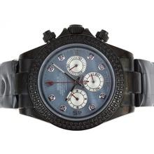 Replique Rolex Daytona Chronograph de travail complet PVD Diamond Bezel avec Blue MOP Dial-Diamant Marquage - Attractive Rolex Daytona Montre pour vous 23638