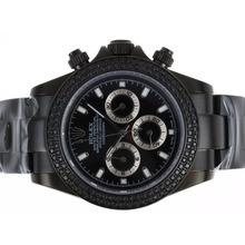 Replique Rolex Daytona Chronograph de travail complet PVD Diamond Bezel avec cadran noir-Stick Marquage - Attractive Rolex Daytona Montre pour vous 23637