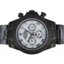 Replique Rolex Daytona Chronograph de travail complet PVD Diamond Bezel avec cadran blanc-romaine de marquage - Attractive Rolex Daytona Montre pour vous 23629