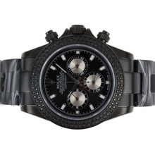 Replique Rolex Daytona Chronograph de travail complet PVD Diamond Bezel avec cadran noir-Stick Marquage - Attractive Rolex Daytona Montre pour vous 23627