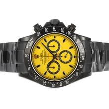 Replique Rolex Daytona Valjoux 7750 Mouvement PVD complet avec cadran jaune et bâton de marquage - Black-Out Nouvelle version - Attractive Rolex Daytona Montre pour vous 23625