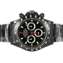 Replique Rolex Daytona Valjoux 7750 Mouvement PVD complet avec cadran noir et bâton Marquage - Black-Out Nouvelle version - Attractive Rolex Daytona Montre pour vous 23624