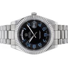 Replique Rolex Day-Date II marqueurs numéro automatique avec cadran noir - Belle Rolex Day Date II Montre pour vous 22931