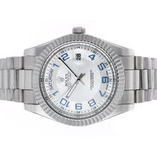Replique Rolex Day-Date II marqueurs numéro automatique avec cadran argenté attrayant - Rolex Day Date II Montre pour vous 22928