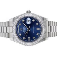 Replique Rolex Day-Date II automatique Diamond Bezel et marqueurs avec cadran bleu - Belle Rolex Day Date II Montre pour vous 22864