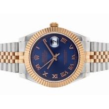 Replique Rolex Datejust II automatique Deux marqueurs romains Tone avec cadran bleu - Belle Rolex Datejust II montre pour vous 22170
