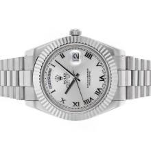Replique Rolex Day-Date II Swiss ETA 2836 Mouvement marqueurs romains avec cadran argenté S / S - Belle Rolex Day Date II Montre pour vous 22800