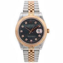 Replique Rolex Datejust II Swiss ETA 2836 Mouvement deux marqueurs de diamant Tone avec cadran Noir MOP - Attractive Rolex Datejust II montre pour vous 22167