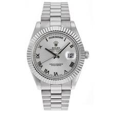 Replique Rolex Day-Date II Swiss ETA 2836 Mouvement marqueurs romains avec cadran argent - Belle Rolex Day Date II Montre pour vous 22792