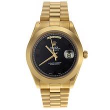 Replique Rolex Day-Date II Swiss ETA 2836 Mouvement complet marqueurs nombre d'or avec cadran noir - Belle Rolex Day Date II Montre pour vous 22774