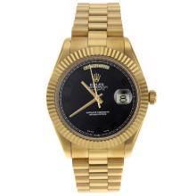 Replique Rolex Day-Date II Swiss ETA 2836 Mouvement complet marqueurs nombre d'or avec cadran noir - Belle Rolex Day Date II Montre pour vous 22773