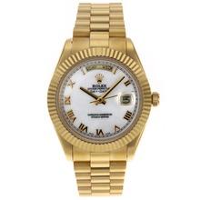 Replique Rolex Day-Date II Swiss ETA 2836 Mouvement d'or pleine marqueurs romains avec cadran blanc - Belle Rolex Day Date II Montre pour vous 22772