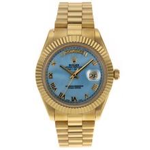 Replique Rolex Day-Date II Swiss ETA 2836 Mouvement d'or pleine marqueurs romains avec cadran bleu - MOP attrayant Rolex Day Date II Montre pour vous 22771
