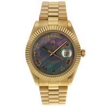 Replique Rolex Day-Date II Swiss ETA 2836 Mouvement d'or pleine marqueurs romains avec cadran noir - MOP attrayant Rolex Day Date II Montre pour vous 22770