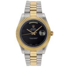 Replique Rolex Day-Date II Swiss ETA 2836 Mouvement deux marqueurs numéro de sonorité avec cadran noir - Attractive Date Rolex Day II montre pour vous 22768