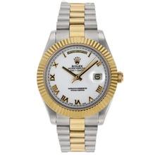 Replique Rolex Day-Date II Swiss ETA 2836 Mouvement deux marqueurs romains Tone avec cadran blanc - Attractive Date Rolex Day II montre pour vous 22767