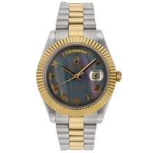 Replique Rolex Day-Date II Swiss ETA 2836 Mouvement deux marqueurs romains Tone avec cadran noir - MOP attrayant Rolex Day Date II Montre pour vous 22765