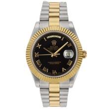 Replique Rolex Day-Date II Swiss ETA 2836 Mouvement deux marqueurs romains Tone avec cadran noir - Attractive Date Rolex Day II montre pour vous 22763