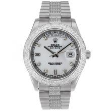 Replique Rolex Day-Date II suisse ETA 2836 Mouvement des marqueurs de diamant lunette et cadran avec MOP - Belle Rolex Day Date II Montre pour vous 22762