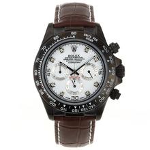 Replique Rolex Daytona Chronographe de travail marqueurs de diamant PVD avec cadran blanc Rolex Daytona - Montres attrayant pour vous 23553