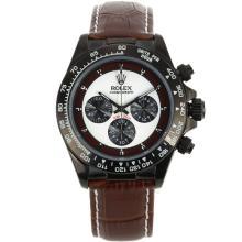 Replique Rolex Daytona-Chronographe PVD affaire avec cadran blanc - Attractive Rolex Daytona Montre pour vous 23548
