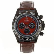 Replique Rolex Daytona-Chronographe PVD affaire avec cadran rouge - Attractive Rolex Daytona Montre pour vous 23546