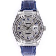 Replique Rolex Datejust marqueurs numéro automatique avec lunette sertie de diamants Cadran-Bleu et Bracelet en Cuir - Attractive montre Rolex DateJust pour vous 20598