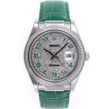 Replique Rolex Datejust marqueurs numéro automatique avec lunette sertie de diamants et accès à distance bracelet en cuir vert - Attractive montre Rolex DateJust pour vous 20597