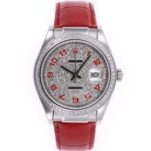 Replique Rolex Datejust marqueurs numéro automatique avec lunette sertie de diamants et Dial-Rouge Bracelet en Cuir - Montre Rolex DateJust attrayant pour vous 20596