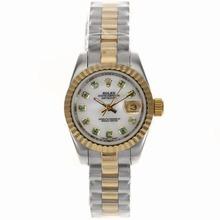 Replique Rolex Datejust automatique Deux marqueurs de tonalité diamant vert avec Dial MOP - Belle Montre Rolex DateJust pour vous 20593