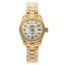 Replique Rolex Datejust automatique complet marqueurs de diamant d'or vert avec cadran argenté - Montre Rolex DateJust attrayant pour vous 20592