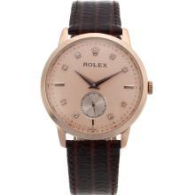 Replique Rolex Cellini automatique en or rose marqueurs affaire Diamond Dial avec Champagne-bracelet en cuir 20124