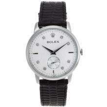 Replique Rolex Cellini automatique diamant marqueurs avec cadran blanc-bracelet en cuir 20123