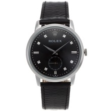 Replik Rolex Cellini Automatic Diamond Markers with Black Dial-Leather Strap 20122