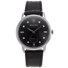 Replique Rolex Cellini automatique diamant marqueurs avec cadran noir-bracelet en cuir 20122