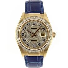 Replique Rolex Datejust automatique des marqueurs d'or Nombre de cas avec lunette sertie de diamants Cadran-Bleu et Bracelet en Cuir - Attractive montre Rolex DateJust pour vous 20590
