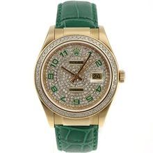 Replique Rolex Datejust automatique des marqueurs d'or Nombre de cas avec lunette sertie de diamants et accès à distance bracelet en cuir vert - Attractive montre Rolex DateJust pour vous 20588