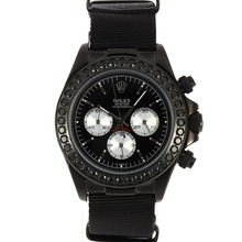 Replique Rolex Daytona Chronographe PVD affaire de travail Noir Marqueurs de diamant bâton Bezel avec cadran noir-Nylon Strap - Belle Rolex Daytona Montre pour vous 23485