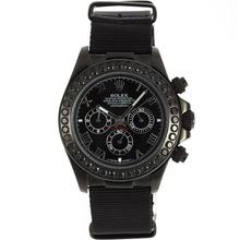 Replique Rolex Daytona Chronographe PVD affaire de travail Marqueurs noir lunette sertie de diamants romains avec cadran noir-Nylon Strap - Belle Rolex Daytona Montre pour vous 23483