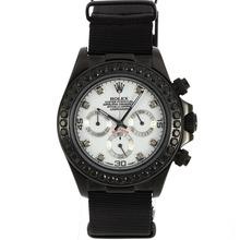 Replique Rolex Daytona Chronographe PVD affaire de travail Noir Marqueurs de diamant Diamond Bezel avec cadran blanc-bracelet en nylon - Belle Rolex Daytona Montre pour vous 23482