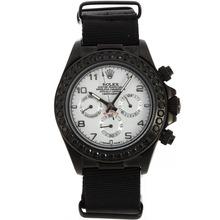 Replique Rolex Daytona Chronographe PVD affaire de travail Noir Marqueurs Diamant Nombre Bezel avec cadran blanc-bracelet en nylon - Belle Rolex Daytona Montre pour vous 23479