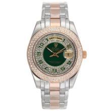 Replique Rolex Masterpiece automatique II Deux Tone Diamond Bezel avec les marqueurs numéro vert et Dial 24787