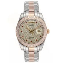 Replique Rolex Masterpiece automatique II Deux Diamond Bezel Dial Tone et avec Red Diamond Markers 24781