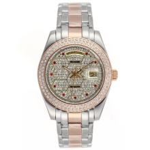 Replique Rolex Masterpiece automatique II Deux Diamond Bezel Dial Tone et avec Red Diamond Markers 24780