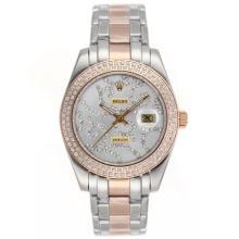 Replique Rolex Masterpiece automatique II Deux Tone Diamond Bezel avec cadran argent diamant 24779
